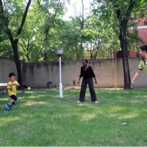 A game of cricket in the Embassy compound /Photo provided by Embassy of Guyana