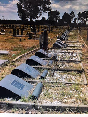Some of the graves of the 69 men, women and children killed in the 1960 Sharpeville massacre in the minority white-ruled, apartheid South Africa.
