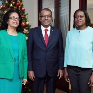 Her Excellency Clarissa Riehl, Mr. Arya Chandra, M.P., Ms. Marsha Caddett- Minister Counsellor - Mr. Chandra has volunteered to become a member of the CANADA-CARICOM Parliamentary Friendship group which is scheduled to be resuscitated in the new year.